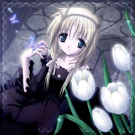 anime-girl-flowers-night