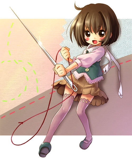 anime sewing girl with-needle