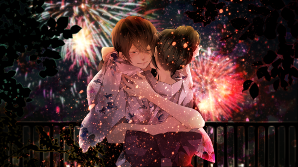 anime fireworks couple
