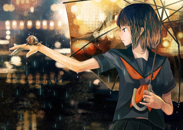 anime-autumn-fall-girl-rain